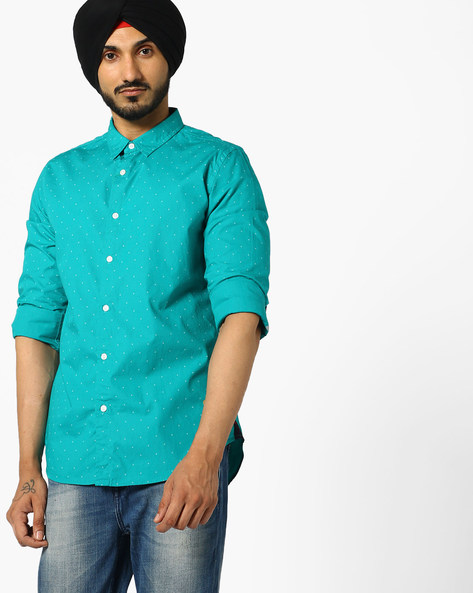 Printed Cotton Shirt By UNITED COLORS OF BENETTON ( Teal )