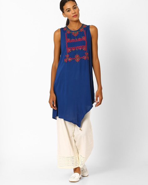 Kurta With Asymmetrical Hem By Global Desi ( Blue )