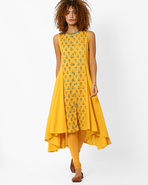 Cotton Kurta With Waterfall Hem By AJIO ( Yellow )
