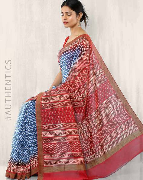 Bagru Print Chanderi Saree By Indie Picks ( Blue ) - 460015834001
