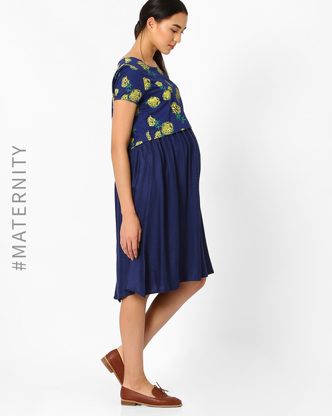 Floral Print Maternity Dress With Gathers By AJIO ( Navyblue )