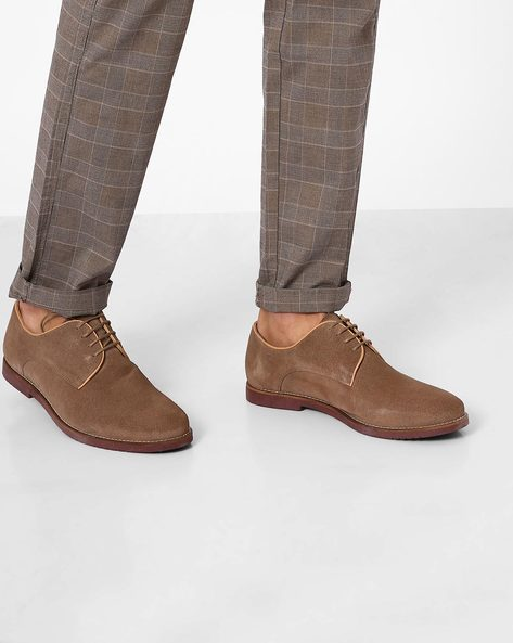 Leather Lace-Up Casual Shoes By Carlton London ( Taupe )