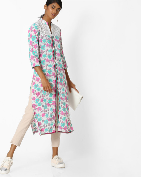 Floral Print Kurta With Front Slit By SOCH ( Cream )