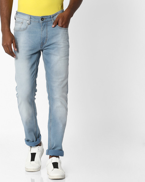 Slim Fit Lightly Washed Jeans By Pepe Jeans ( Blue )