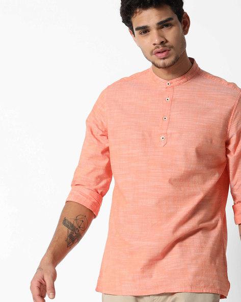 Slub Cotton Shirt Kurta By NETPLAY ( Orange )