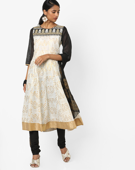 Floral Printed Kurta Suit Set By Trishaa By Pantaloons ( White )