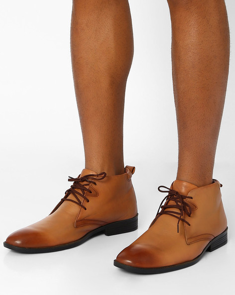 Leather Ankle-Length Boots By VALENTINO ( Teak )