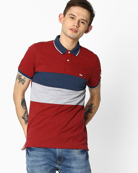Grindle Colourblock Polo T-shirt By TEAM SPIRIT ( Red )