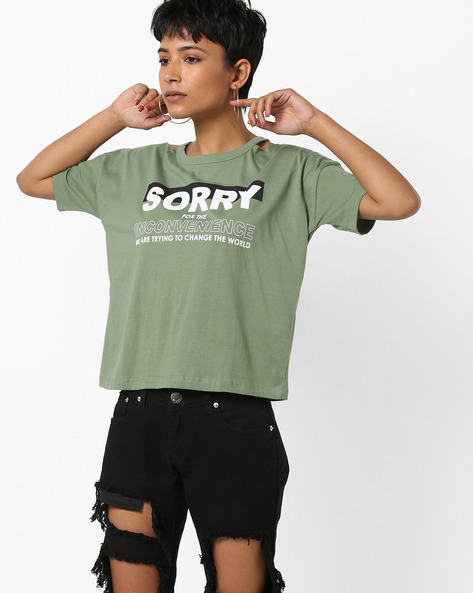 Typographic Print T-shirt With Shoulder Cut-Outs By AJIO ( Olive )