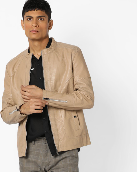 Slim Fit Biker Jacket With Band Collar By The Indian Garage Co ( Khaki )