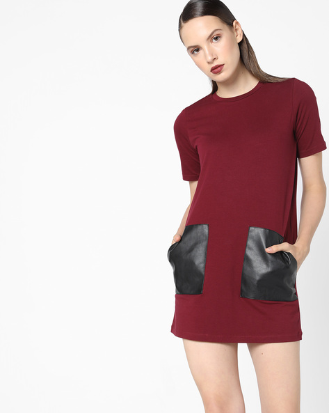 Shift Dress With Patch Pockets By AJIO ( Maroon )