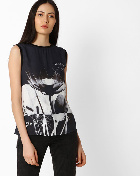 Sleeveless Graphic Print Top By Vero Moda ( Black )