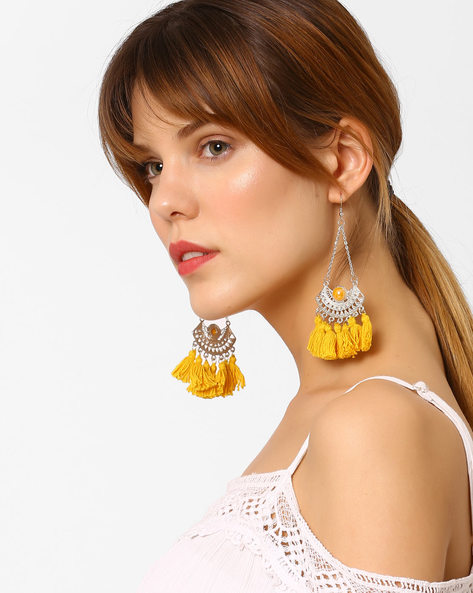 Drop-Earrings With Tassels By BLUEBERRY ( Yellow )