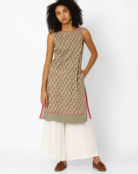 Printed Sleeveless Kurta By AJIO ( Olive )