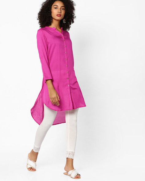 High-Low Kurta With Button Placket By Melange By Lifestyle ( Purple )