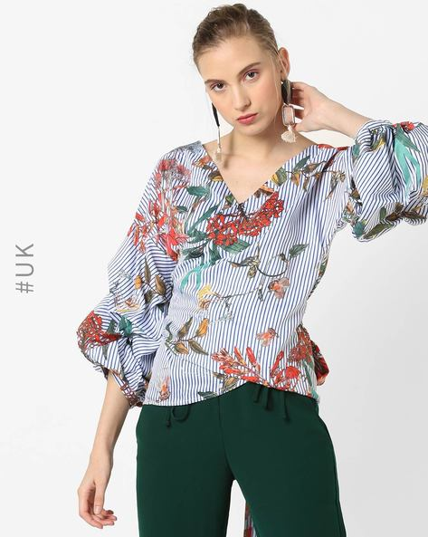 Wrap Top With Ruched Sleeves By OEUVRE ( Multi )