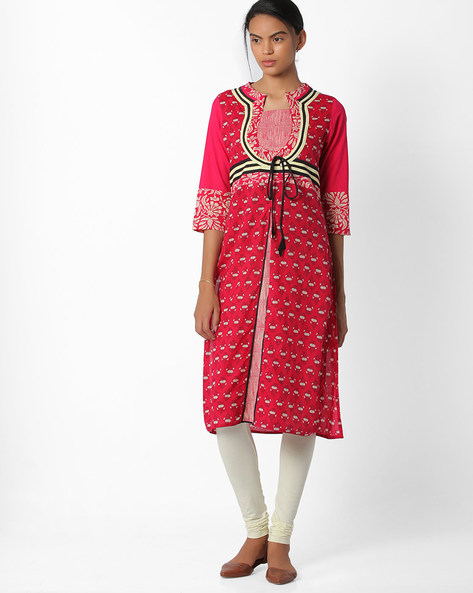 Printed Straight Kurta With Tie-Up By Jiyaa ( Pink )