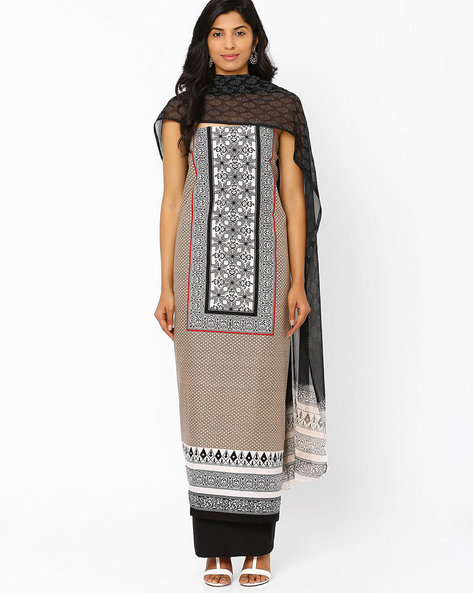 Unstitched Printed Cotton Dress Material By Hhara ( Beige )