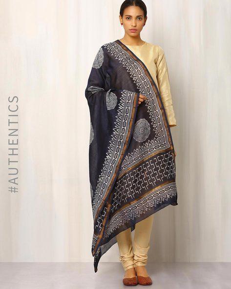 Hand Block Print Chanderi Dupatta By Keri ( Indigo ) - 460014726001