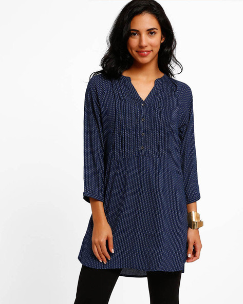 Printed Tunic With Pintucks By FIG ( Assorted )