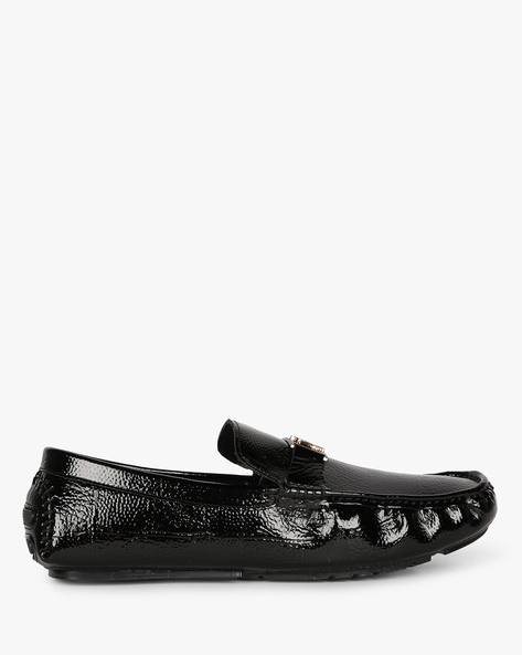 Textured Loafers With Metal Accent By SAN FRISSCO ( Black )
