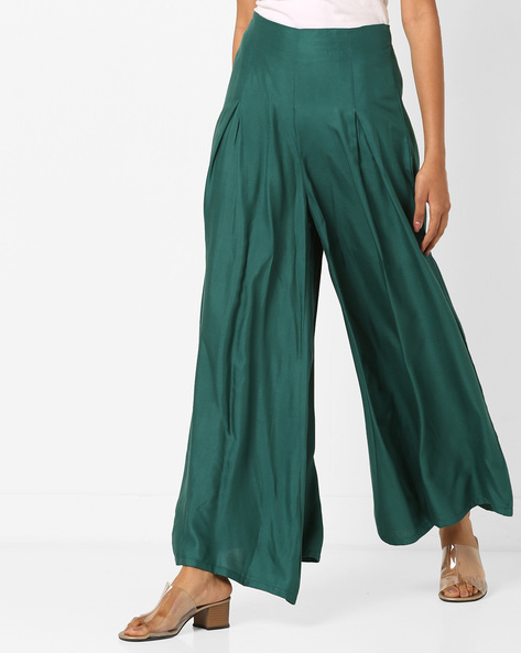 Palazzo Pants With Elasticated Waist By Bitterlime ( Green )
