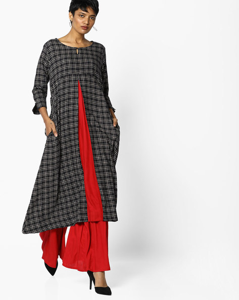 Checked Print Flared Kurta By PE IW Casual ( Black )