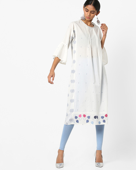 Printed Kurta With Flared Sleeves By AJIO ( White )