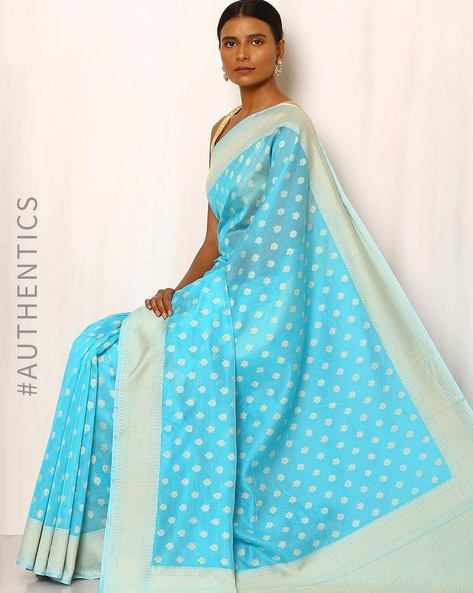 Banarasi Pure Silk Katan Cotton Cutwork Saree By Indie Picks ( Blue )