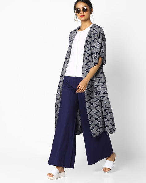 Chevron Print Open-Front Shrug By AJIO ( Blue )