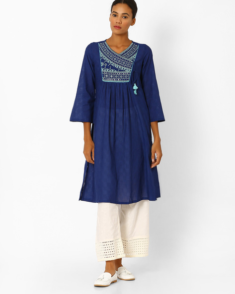 Angrakha Kurta With Embroidered Yoke By Global Desi ( Blue )