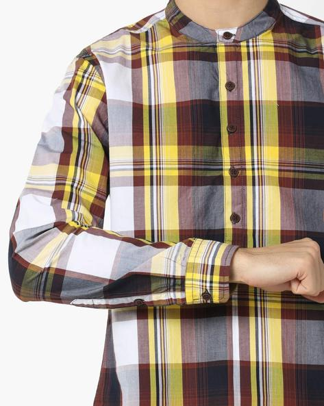 Checked Shirt With Band Collar By AJIO ( Yellow )