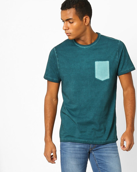Slim Fit T-shirt With Pocket Impression By AJIO ( Teal )