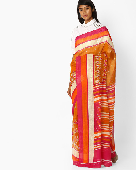 Printed Saree With Striped Pallu By Pihu ( Mustard )