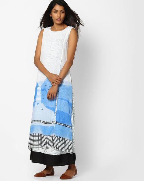 Printed Sleeveless Layered Kurta By W ( White )