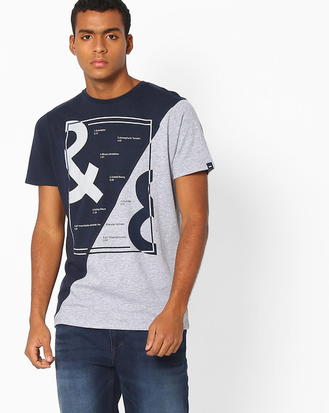 Colourblock Muscle Fit Crew-Neck T-shirt By BASICS ( Navy )