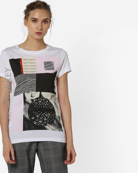 Graphic Print T-Shirt By TRENDYOL ( White )