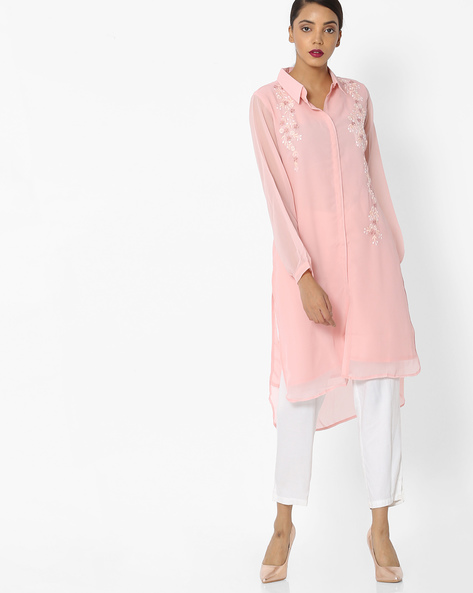 High-Low Embroidered Kurta With Shirt Collar By JASHN ( Pink )