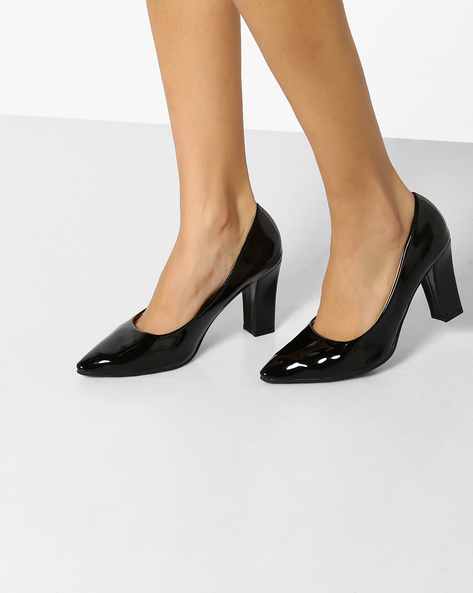 Glossy Block Heeled Pumps By MFT Couture ( Black )