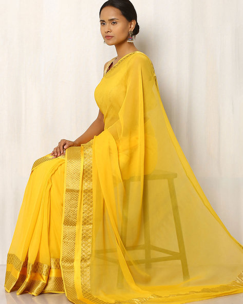 Pure Silk Chiffon Saree With Woven Design By Rudrakaashe-MSU ( Yellow )