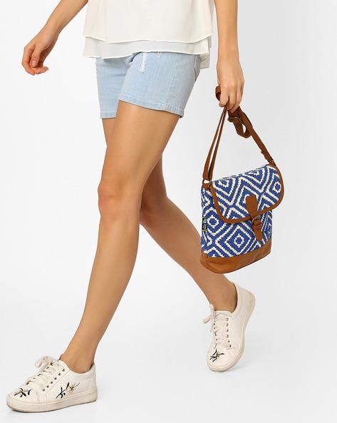Jacquard Sling Bag By Kanvas Katha ( Blue )