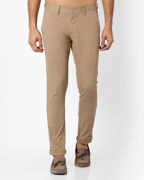 Flat-Front Tapered Fit Chinos By NETPLAY ( Khaki )
