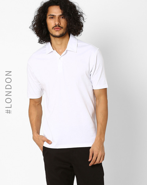 Pure Cotton Polo T-shirt By Marks & Spencer ( White )