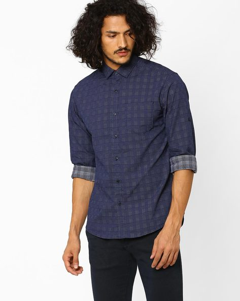 Checked Slim Fit Shirt With Patch Pocket By Locomotive ( Navyblue )