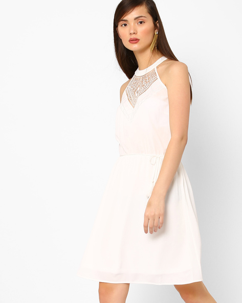 Fit & Flare Dress With Lace By AJIO ( White )