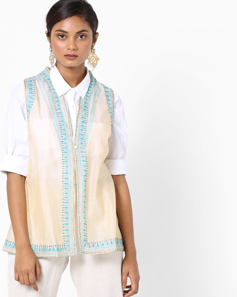Sleeveless Jacket With Embroidery By AJIO ( Ivory )