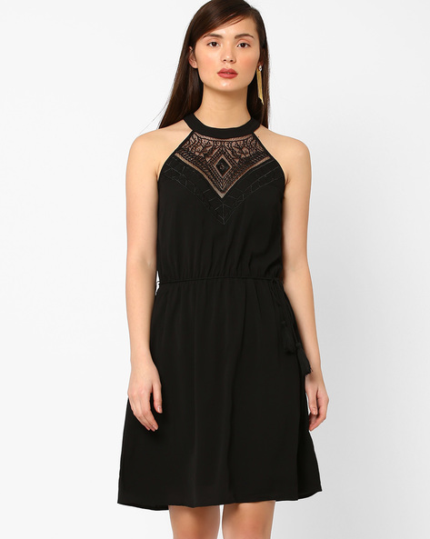 Fit & Flare Dress With Lace By AJIO ( Black )