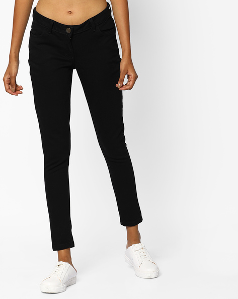 Ankle-Length Skinny Jeans By Fame Forever By Lifestyle ( Black )