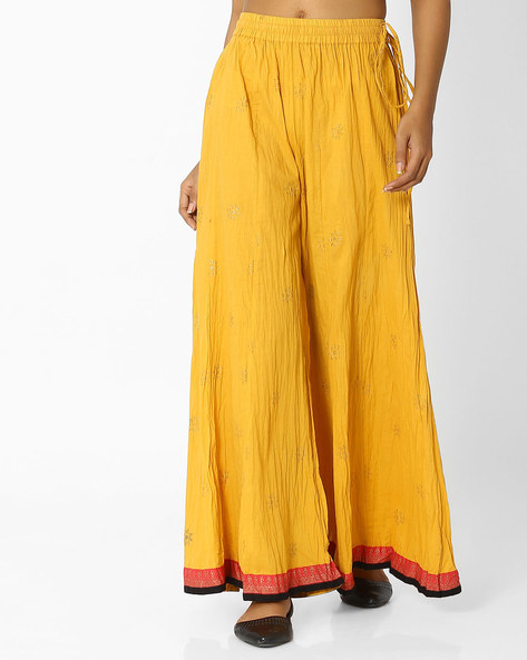 Crushed Palazzo Pants With Drawstring Waist By Indian Ink ( Brown )