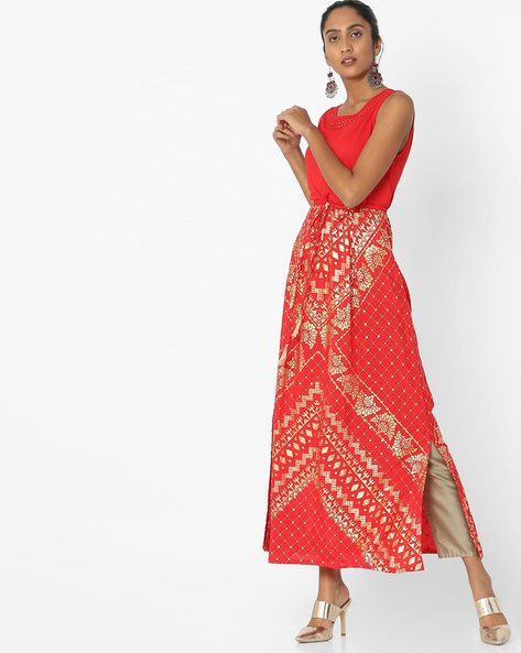 Sleeveless Foil Print Dress With Side Slits By Akkriti By Pantaloons ( Red )